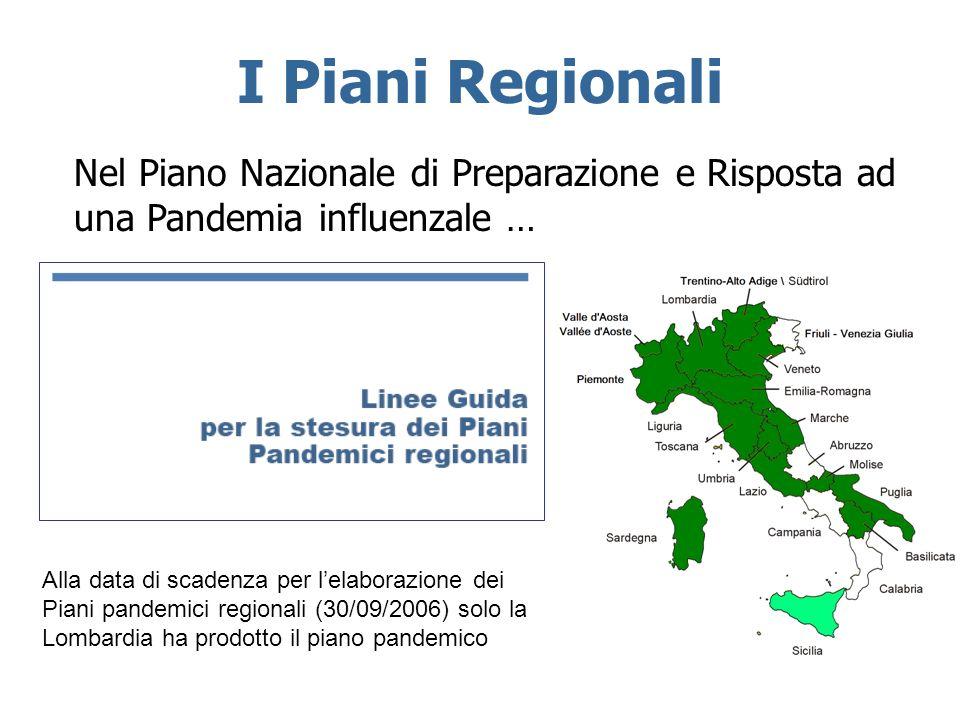I Piani Regionali Nel Piano Nazionale di Preparazione e Risposta ad una Pandemia influenzale … Alla data di scadenza per lelaborazione dei Piani pande