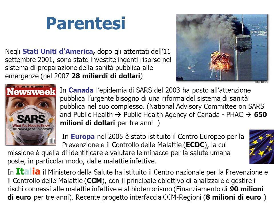 In Italia il Ministero della Salute ha istituito il Centro nazionale per la Prevenzione e il Controllo delle Malattie (CCM), con il principale obietti