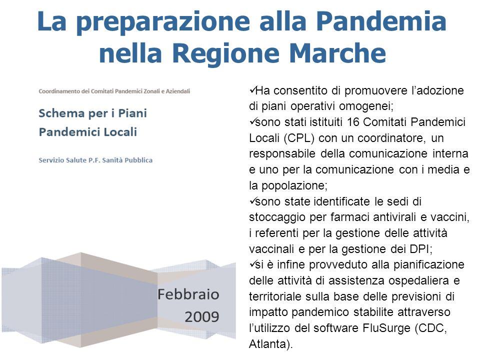 La preparazione alla Pandemia nella Regione Marche Ha consentito di promuovere ladozione di piani operativi omogenei; sono stati istituiti 16 Comitati