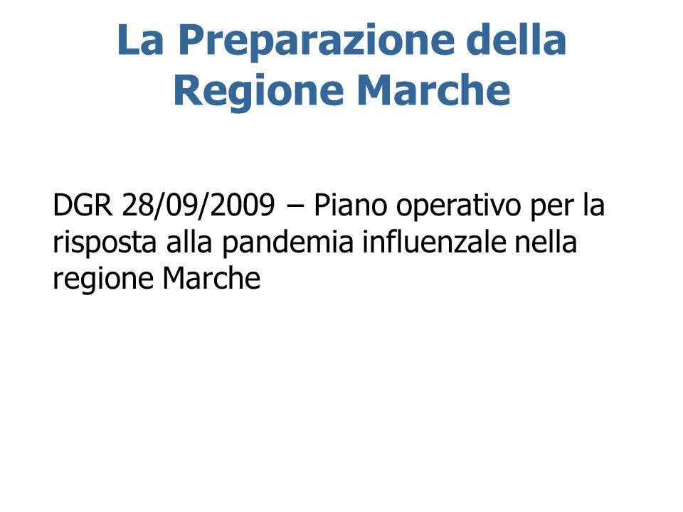 La Preparazione della Regione Marche DGR 28/09/2009 – Piano operativo per la risposta alla pandemia influenzale nella regione Marche