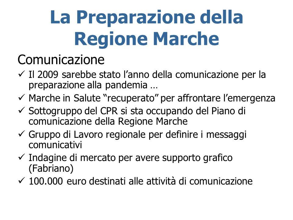 La Preparazione della Regione Marche Comunicazione Il 2009 sarebbe stato lanno della comunicazione per la preparazione alla pandemia … Marche in Salut