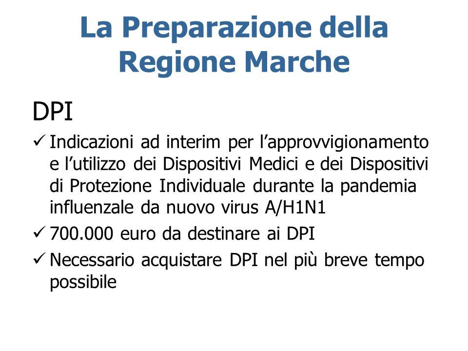 La Preparazione della Regione Marche DPI Indicazioni ad interim per lapprovvigionamento e lutilizzo dei Dispositivi Medici e dei Dispositivi di Protez