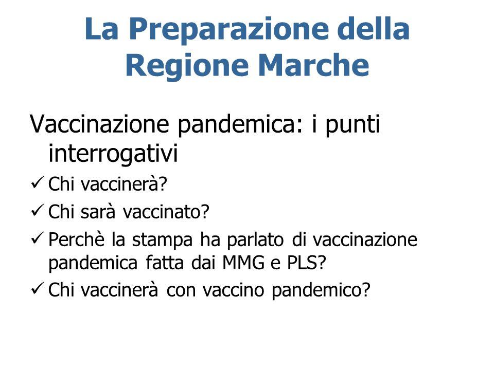 La Preparazione della Regione Marche Vaccinazione pandemica: i punti interrogativi Chi vaccinerà? Chi sarà vaccinato? Perchè la stampa ha parlato di v