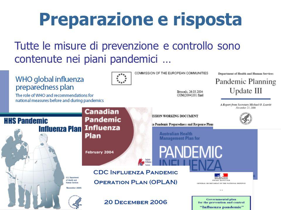 Preparazione e risposta Tutte le misure di prevenzione e controllo sono contenute nei piani pandemici …