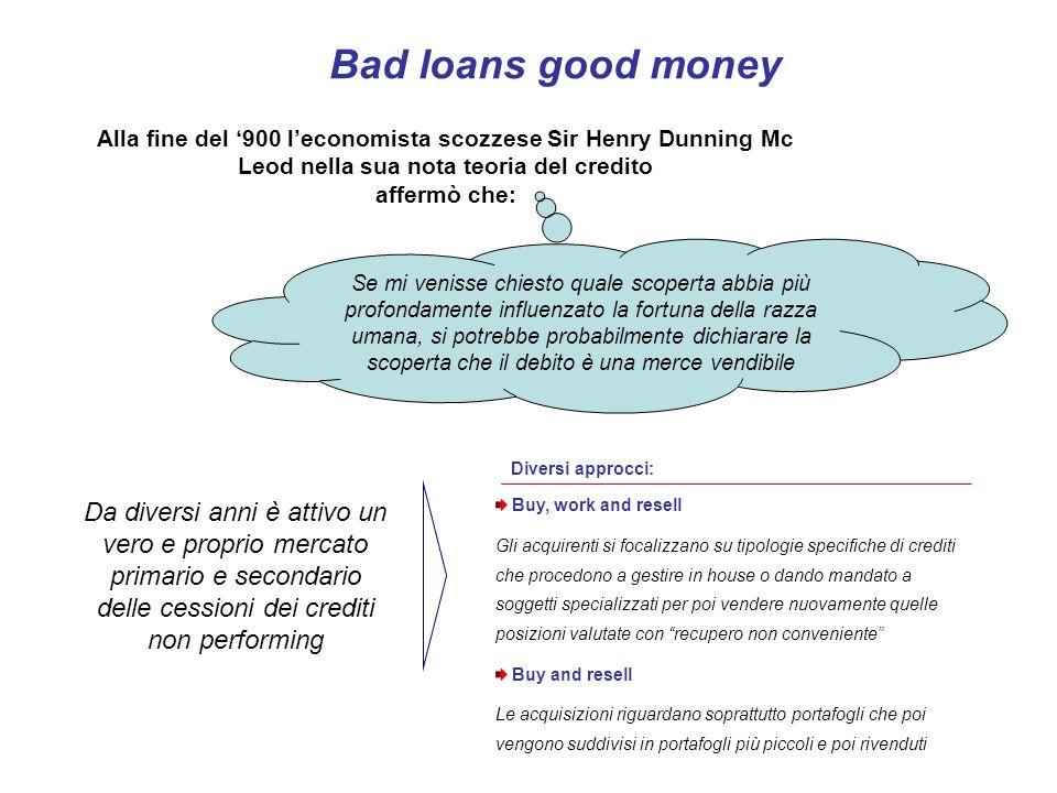 Bad loans good money Alla fine del 900 leconomista scozzese Sir Henry Dunning Mc Leod nella sua nota teoria del credito affermò che: Se mi venisse chi