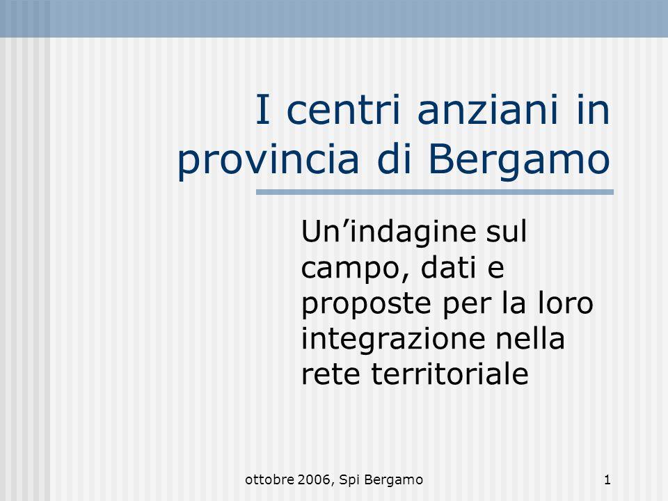 ottobre 2006, Spi Bergamo1 I centri anziani in provincia di Bergamo Unindagine sul campo, dati e proposte per la loro integrazione nella rete territoriale