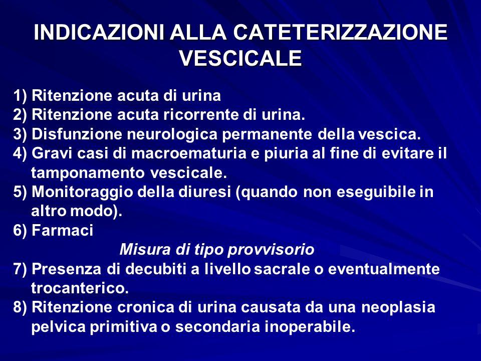 INDICAZIONI ALLA CATETERIZZAZIONE VESCICALE 1) Ritenzione acuta di urina 2) Ritenzione acuta ricorrente di urina. 3) Disfunzione neurologica permanent