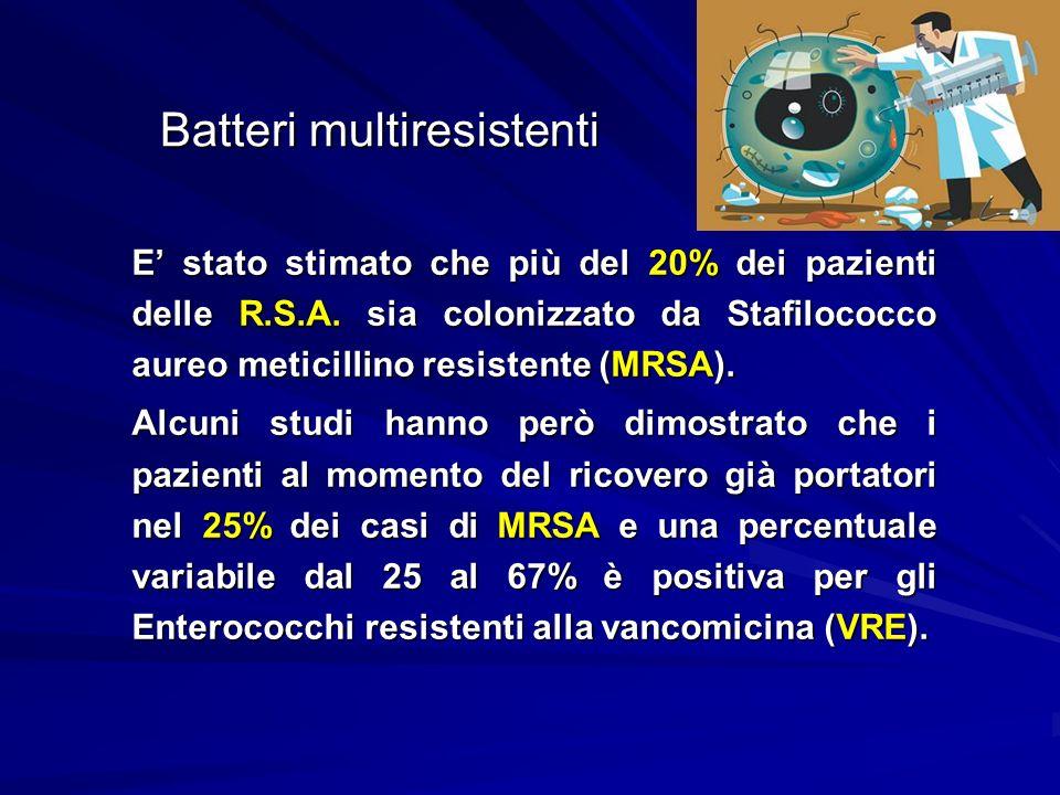 Batteri multiresistenti E stato stimato che più del 20% dei pazienti delle R.S.A. sia colonizzato da Stafilococco aureo meticillino resistente (MRSA).