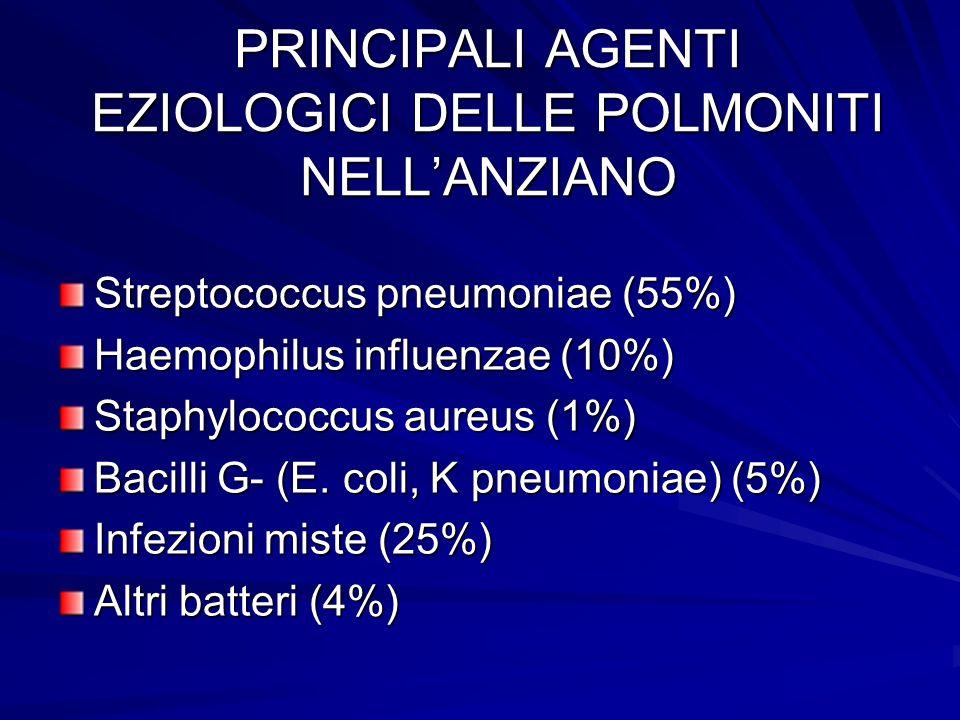 PRINCIPALI AGENTI EZIOLOGICI DELLE POLMONITI NELLANZIANO Streptococcus pneumoniae (55%) Haemophilus influenzae (10%) Staphylococcus aureus (1%) Bacill