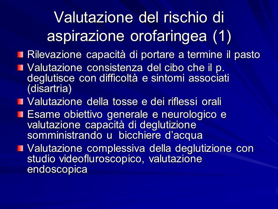 Valutazione del rischio di aspirazione orofaringea (1) Rilevazione capacità di portare a termine il pasto Valutazione consistenza del cibo che il p. d