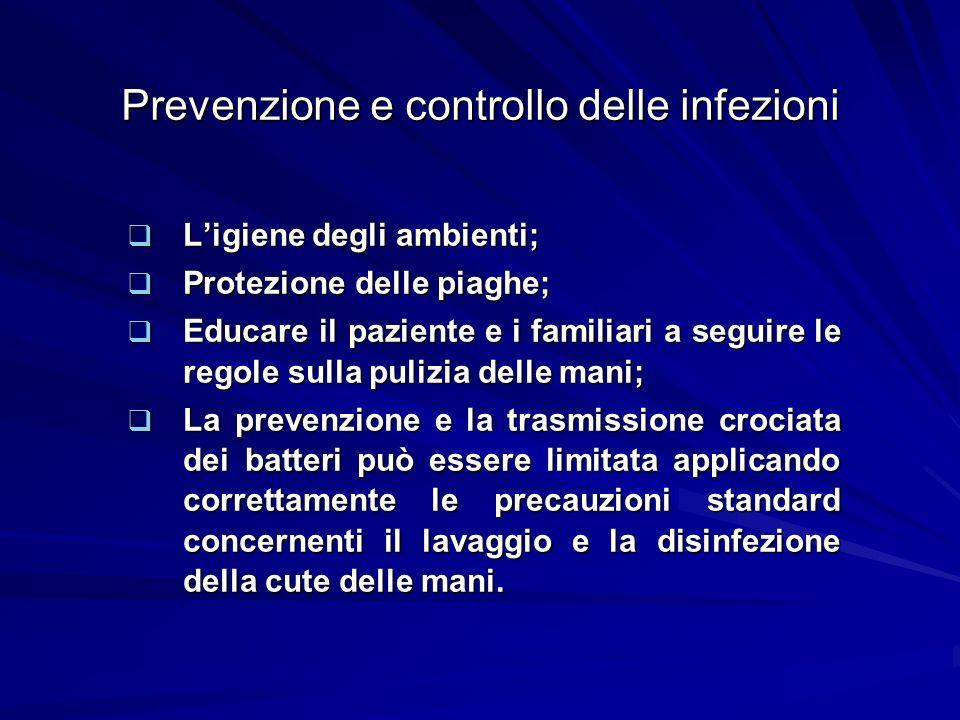 Prevenzione e controllo delle infezioni Ligiene degli ambienti; Ligiene degli ambienti; Protezione delle piaghe; Protezione delle piaghe; Educare il p