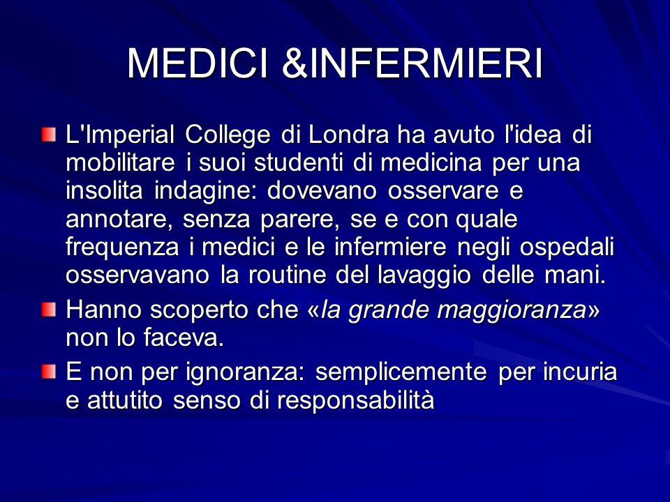 MEDICI &INFERMIERI L'Imperial College di Londra ha avuto l'idea di mobilitare i suoi studenti di medicina per una insolita indagine: dovevano osservar