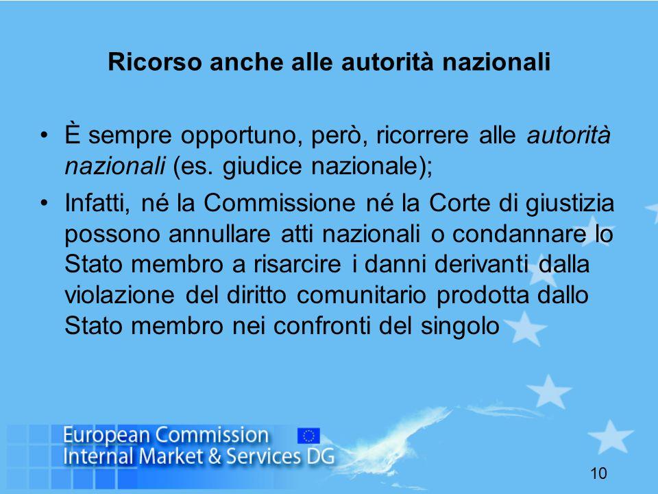 10 Ricorso anche alle autorità nazionali È sempre opportuno, però, ricorrere alle autorità nazionali (es.