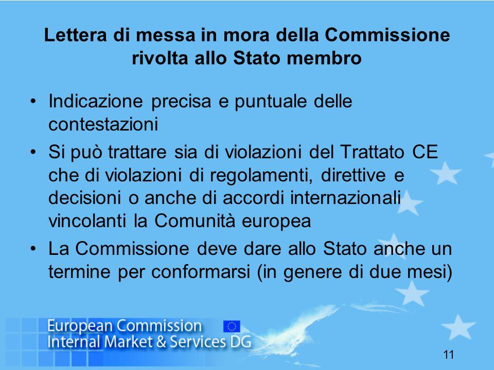 11 Lettera di messa in mora della Commissione rivolta allo Stato membro Indicazione precisa e puntuale delle contestazioni Si può trattare sia di viol