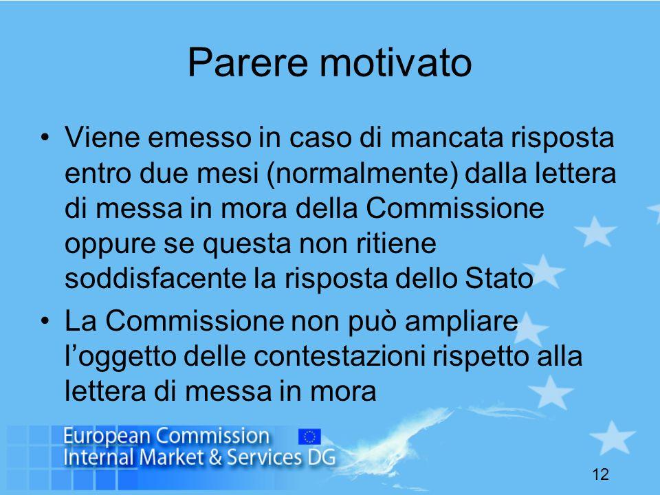 12 Parere motivato Viene emesso in caso di mancata risposta entro due mesi (normalmente) dalla lettera di messa in mora della Commissione oppure se qu