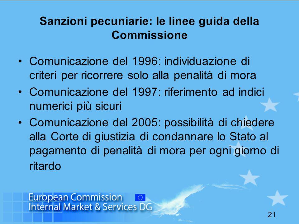 21 Sanzioni pecuniarie: le linee guida della Commissione Comunicazione del 1996: individuazione di criteri per ricorrere solo alla penalità di mora Co