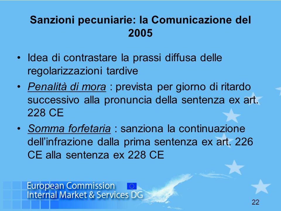 22 Sanzioni pecuniarie: la Comunicazione del 2005 Idea di contrastare la prassi diffusa delle regolarizzazioni tardive Penalità di mora : prevista per giorno di ritardo successivo alla pronuncia della sentenza ex art.
