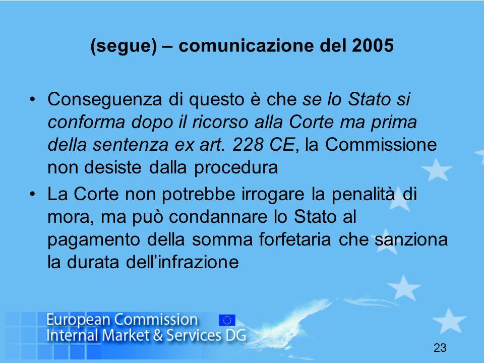 23 (segue) – comunicazione del 2005 Conseguenza di questo è che se lo Stato si conforma dopo il ricorso alla Corte ma prima della sentenza ex art. 228