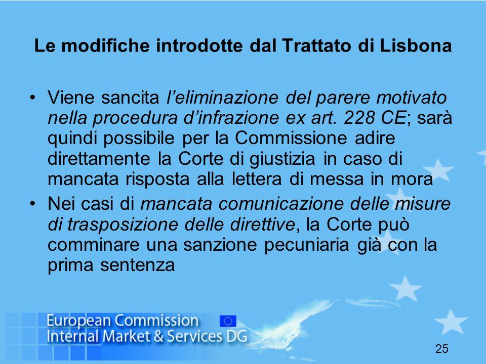 25 Le modifiche introdotte dal Trattato di Lisbona Viene sancita leliminazione del parere motivato nella procedura dinfrazione ex art. 228 CE; sarà qu