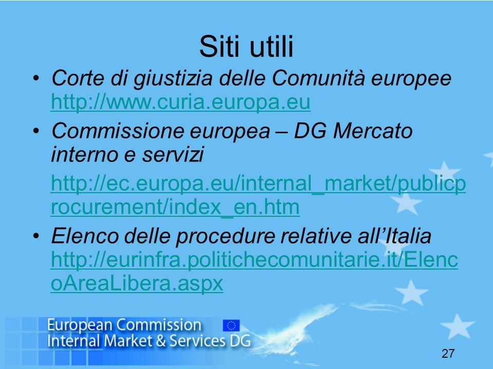 27 Siti utili Corte di giustizia delle Comunità europee http://www.curia.europa.eu http://www.curia.europa.eu Commissione europea – DG Mercato interno e servizi http://ec.europa.eu/internal_market/publicp rocurement/index_en.htm Elenco delle procedure relative allItalia http://eurinfra.politichecomunitarie.it/Elenc oAreaLibera.aspx http://eurinfra.politichecomunitarie.it/Elenc oAreaLibera.aspx