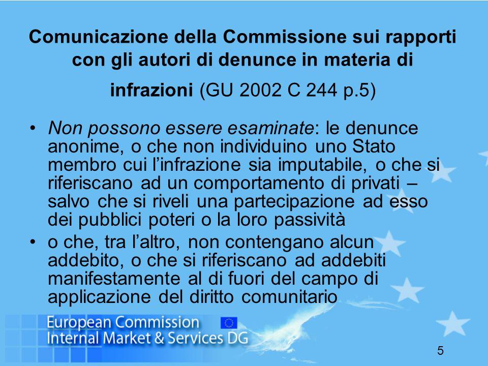 5 Comunicazione della Commissione sui rapporti con gli autori di denunce in materia di infrazioni (GU 2002 C 244 p.5) Non possono essere esaminate: le denunce anonime, o che non individuino uno Stato membro cui linfrazione sia imputabile, o che si riferiscano ad un comportamento di privati – salvo che si riveli una partecipazione ad esso dei pubblici poteri o la loro passività o che, tra laltro, non contengano alcun addebito, o che si riferiscano ad addebiti manifestamente al di fuori del campo di applicazione del diritto comunitario