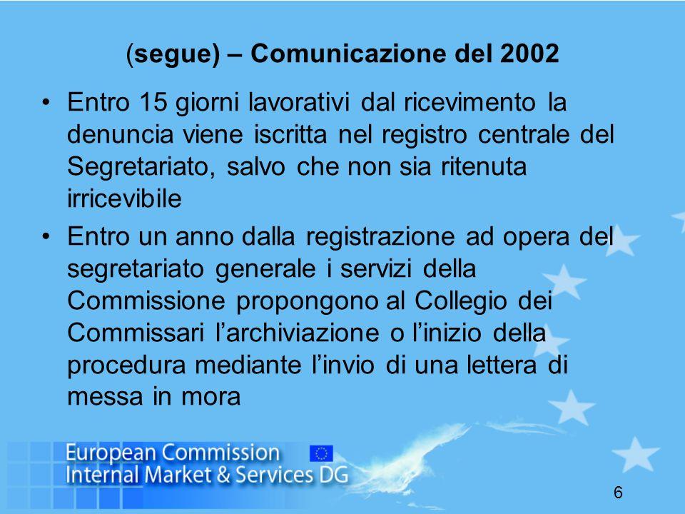 6 (segue) – Comunicazione del 2002 Entro 15 giorni lavorativi dal ricevimento la denuncia viene iscritta nel registro centrale del Segretariato, salvo