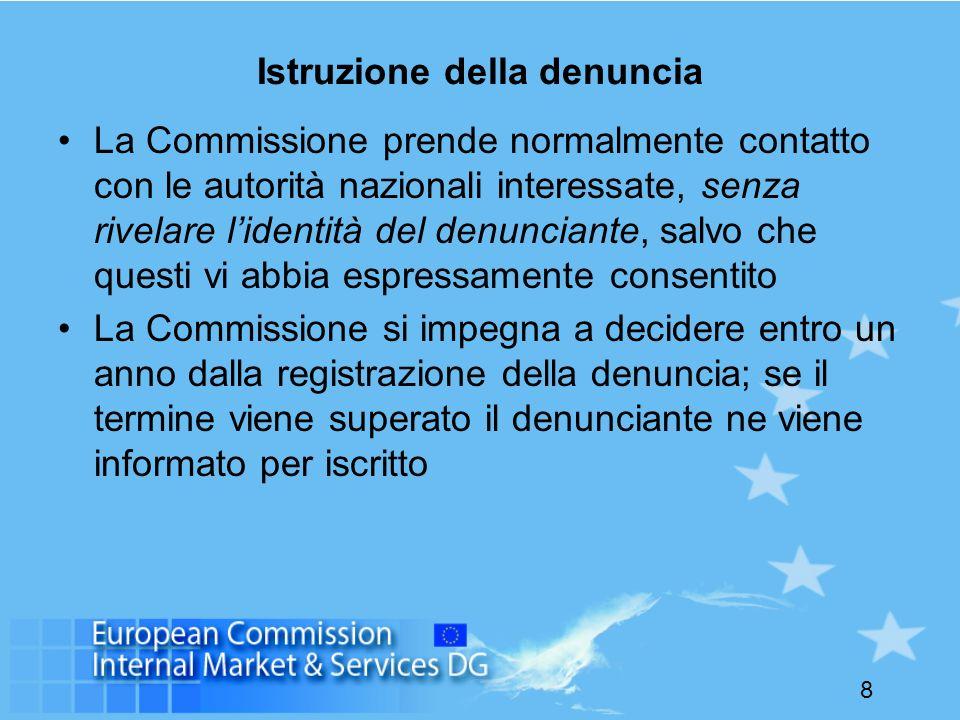 8 Istruzione della denuncia La Commissione prende normalmente contatto con le autorità nazionali interessate, senza rivelare lidentità del denunciante