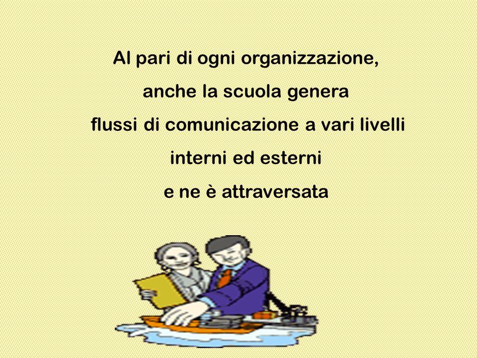 Al pari di ogni organizzazione, anche la scuola genera flussi di comunicazione a vari livelli interni ed esterni e ne è attraversata