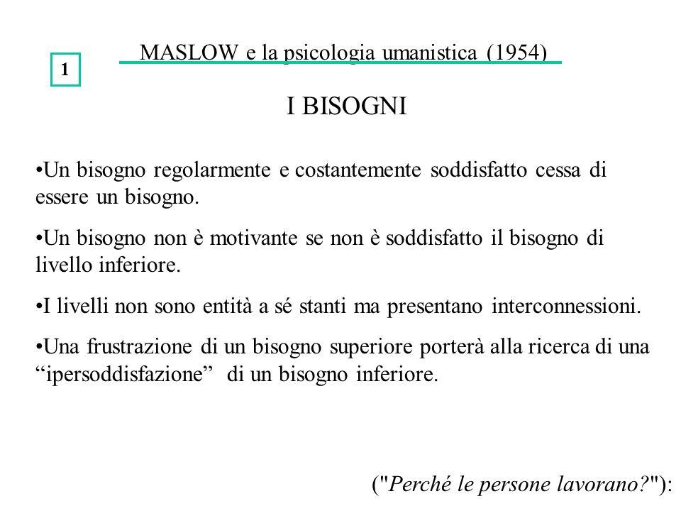 MASLOW e la psicologia umanistica (1954) I BISOGNI Un bisogno regolarmente e costantemente soddisfatto cessa di essere un bisogno. Un bisogno non è mo