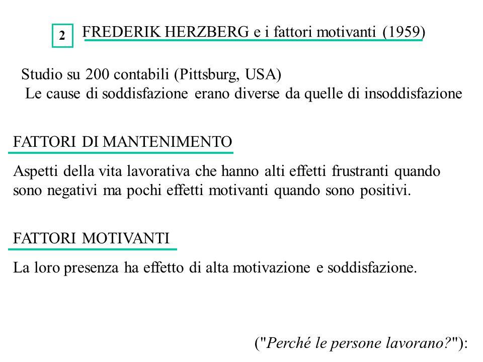 FREDERIK HERZBERG e i fattori motivanti (1959) FATTORI DI MANTENIMENTO Aspetti della vita lavorativa che hanno alti effetti frustranti quando sono neg