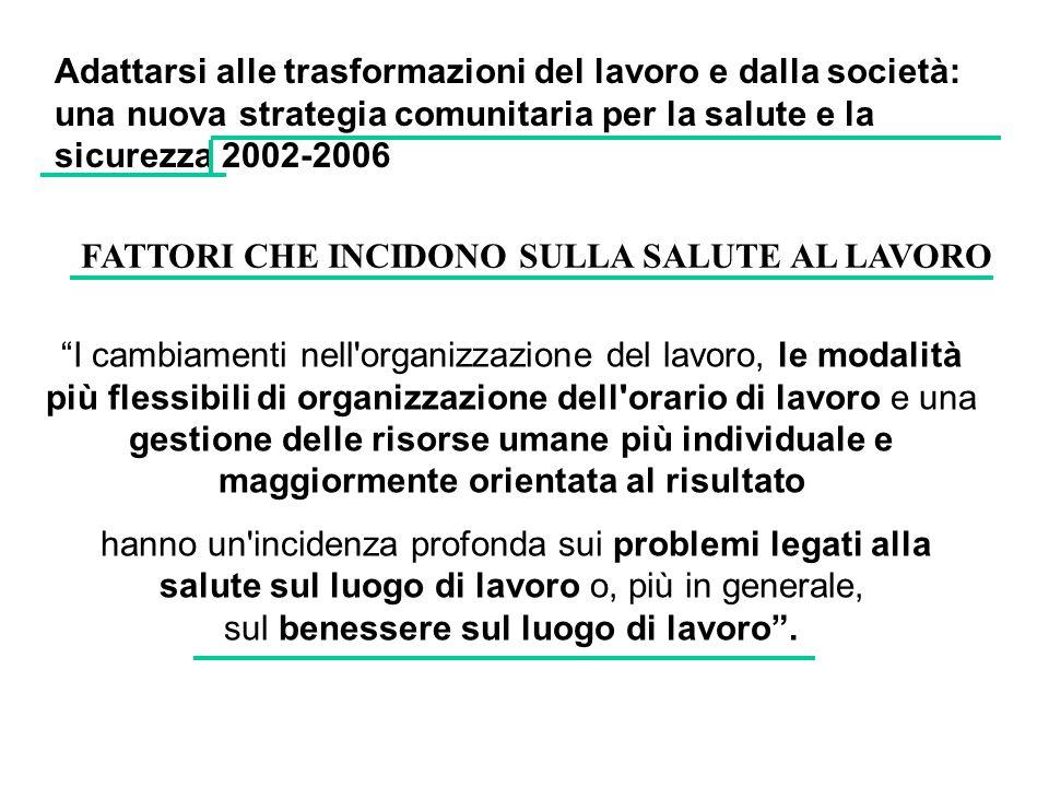 Adattarsi alle trasformazioni del lavoro e dalla società: una nuova strategia comunitaria per la salute e la sicurezza 2002-2006 I cambiamenti nell'or