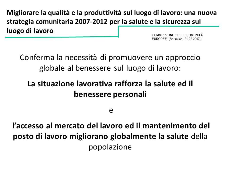 Migliorare la qualità e la produttività sul luogo di lavoro: una nuova strategia comunitaria 2007-2012 per la salute e la sicurezza sul luogo di lavor