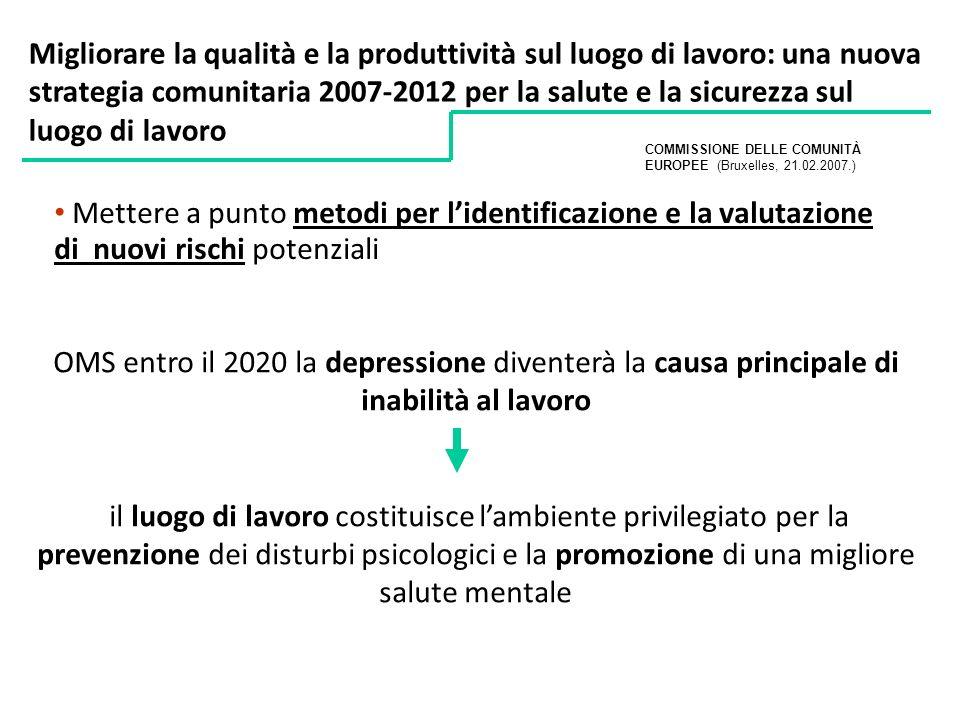 OMS entro il 2020 la depressione diventerà la causa principale di inabilità al lavoro il luogo di lavoro costituisce lambiente privilegiato per la pre