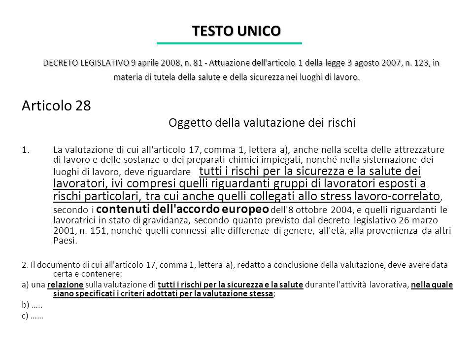 TESTO UNICO DECRETO LEGISLATIVO 9 aprile 2008, n. 81 - Attuazione dell'articolo 1 della legge 3 agosto 2007, n. 123, in materia di tutela della salute