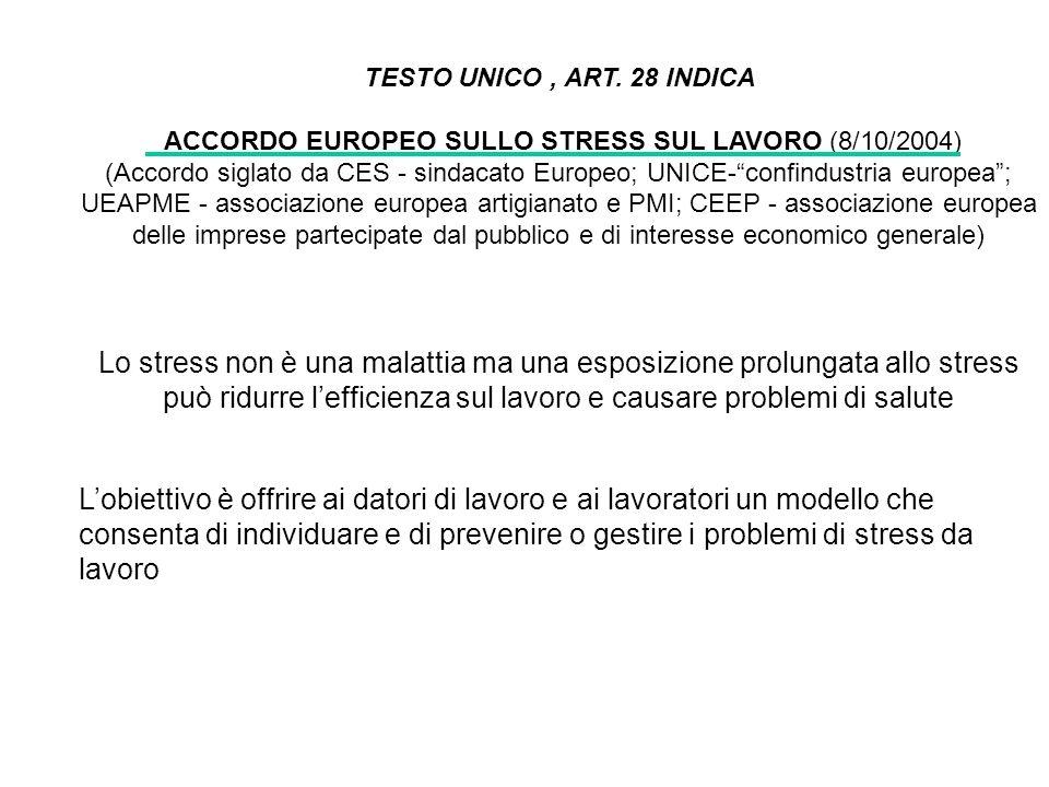 TESTO UNICO, ART. 28 INDICA ACCORDO EUROPEO SULLO STRESS SUL LAVORO (8/10/2004) (Accordo siglato da CES - sindacato Europeo; UNICE-confindustria europ