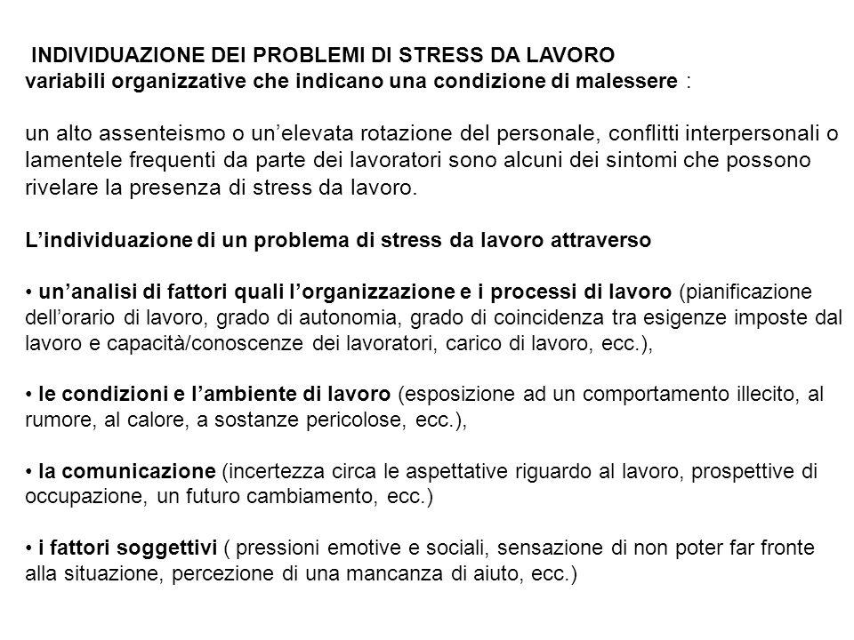 INDIVIDUAZIONE DEI PROBLEMI DI STRESS DA LAVORO variabili organizzative che indicano una condizione di malessere : un alto assenteismo o unelevata rot