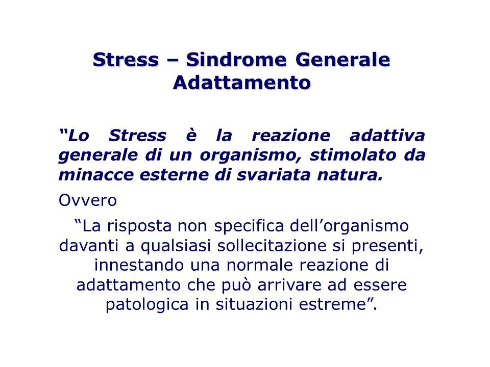 Stress – Sindrome Generale Adattamento Lo Stress è la reazione adattiva generale di un organismo, stimolato da minacce esterne di svariata natura. Ovv