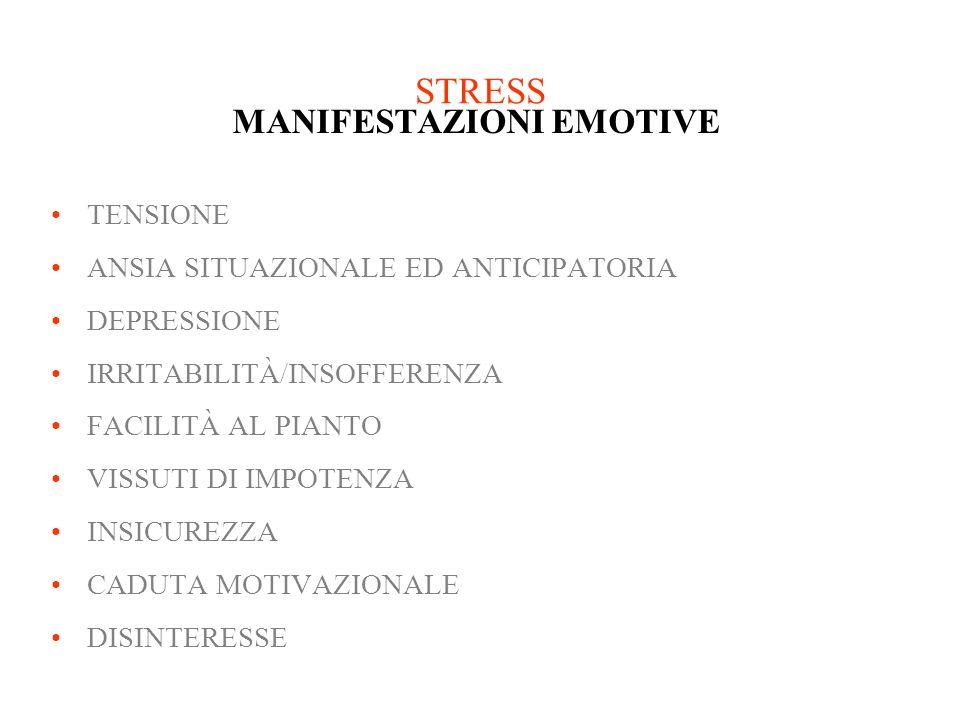 STRESS MANIFESTAZIONI EMOTIVE TENSIONE ANSIA SITUAZIONALE ED ANTICIPATORIA DEPRESSIONE IRRITABILITÀ/INSOFFERENZA FACILITÀ AL PIANTO VISSUTI DI IMPOTEN