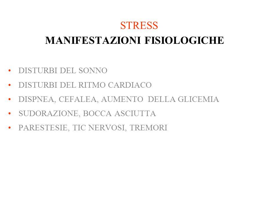 STRESS MANIFESTAZIONI FISIOLOGICHE DISTURBI DEL SONNO DISTURBI DEL RITMO CARDIACO DISPNEA, CEFALEA, AUMENTO DELLA GLICEMIA SUDORAZIONE, BOCCA ASCIUTTA
