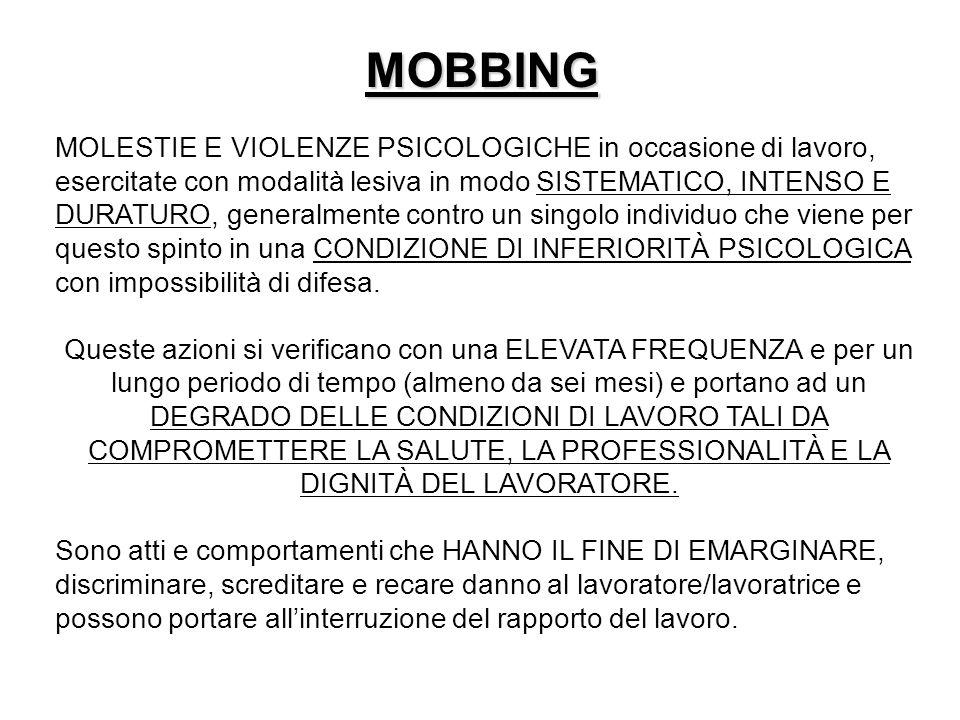 MOBBING MOLESTIE E VIOLENZE PSICOLOGICHE in occasione di lavoro, esercitate con modalità lesiva in modo SISTEMATICO, INTENSO E DURATURO, generalmente