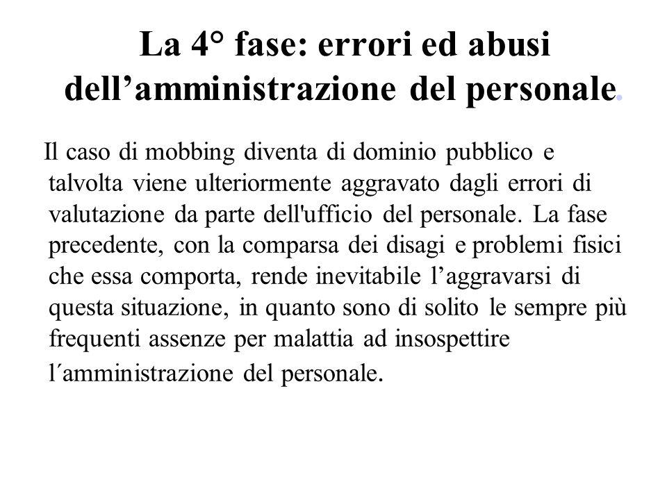 La 4° fase: errori ed abusi dellamministrazione del personale. Il caso di mobbing diventa di dominio pubblico e talvolta viene ulteriormente aggravato