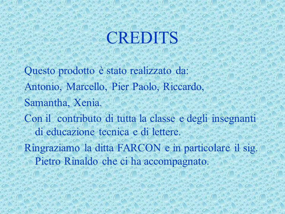 CREDITS Questo prodotto è stato realizzato da: Antonio, Marcello, Pier Paolo, Riccardo, Samantha, Xenia. Con il contributo di tutta la classe e degli