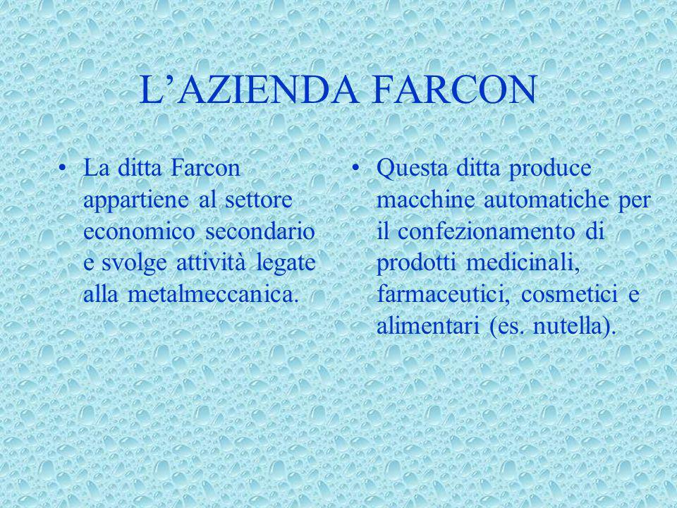 LAZIENDA FARCON La ditta Farcon appartiene al settore economico secondario e svolge attività legate alla metalmeccanica. Questa ditta produce macchine