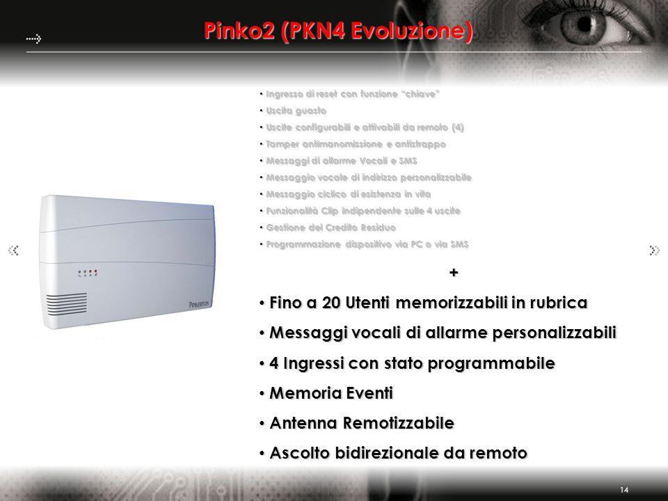 14 Pinko2 (PKN4 Evoluzione) + Fino a 20 Utenti memorizzabili in rubrica Fino a 20 Utenti memorizzabili in rubrica Messaggi vocali di allarme personali