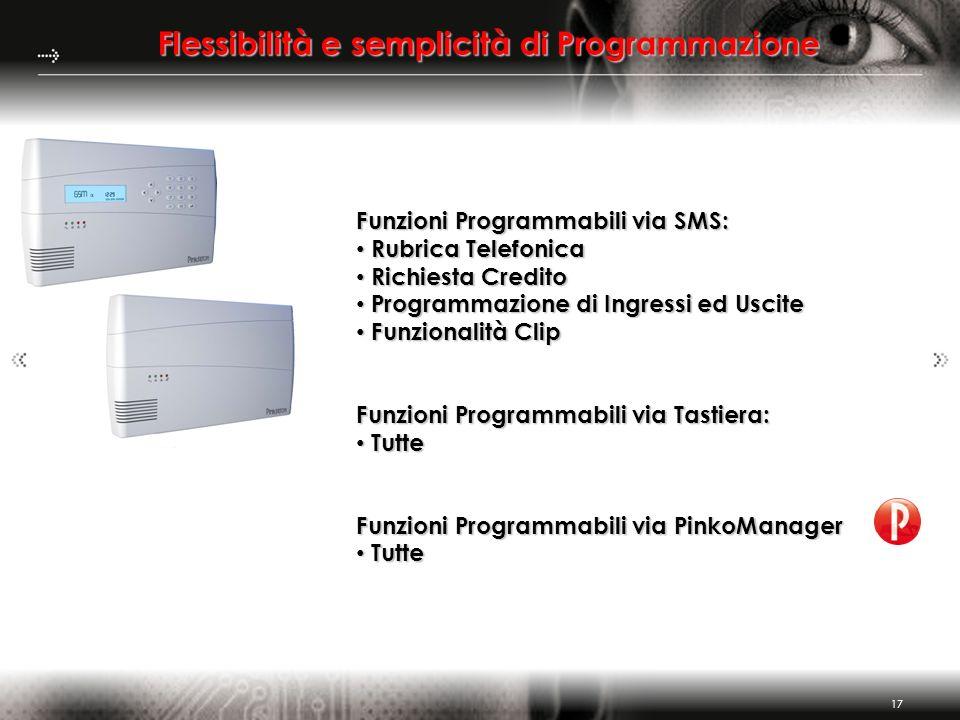 17 Flessibilità e semplicità di Programmazione Funzioni Programmabili via SMS: Rubrica Telefonica Rubrica Telefonica Richiesta Credito Richiesta Credi