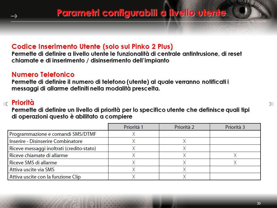 20 Parametri configurabili a livello utente Codice Inserimento Utente (solo sul Pinko 2 Plus) Permette di definire a livello utente le funzionalità di