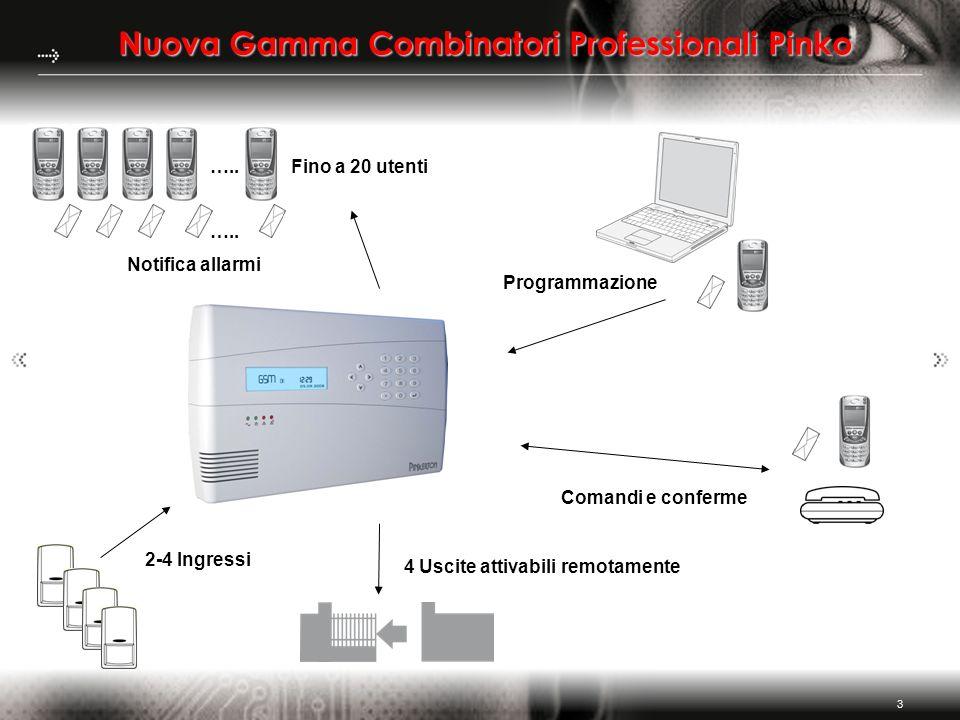 3 Nuova Gamma Combinatori Professionali Pinko Programmazione Comandi e conferme Notifica allarmi ….. Fino a 20 utenti ….. 4 Uscite attivabili remotame