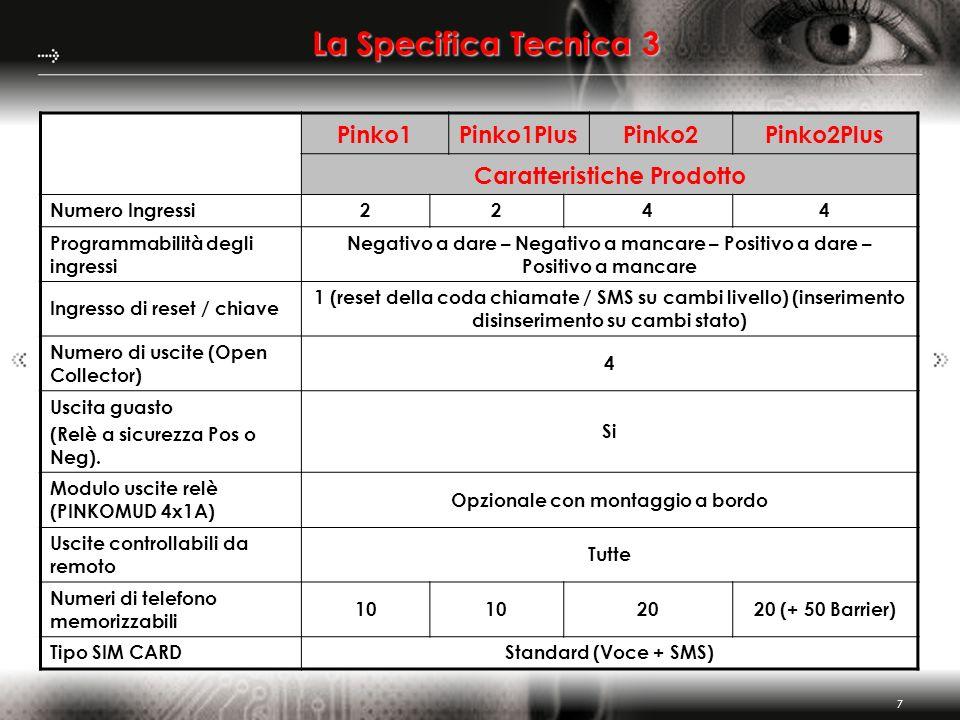 7 La Specifica Tecnica 3 Pinko1Pinko1PlusPinko2Pinko2Plus Caratteristiche Prodotto Numero Ingressi2244 Programmabilità degli ingressi Negativo a dare
