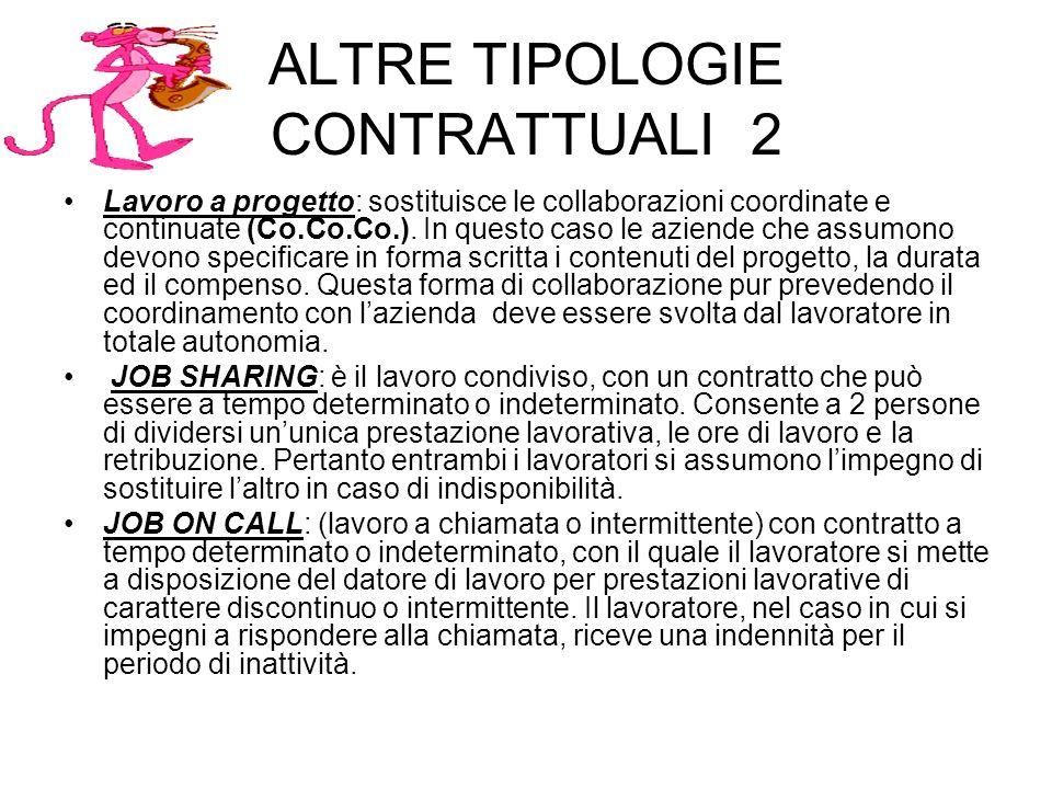 ALTRE TIPOLOGIE CONTRATTUALI 2 Lavoro a progetto: sostituisce le collaborazioni coordinate e continuate (Co.Co.Co.).
