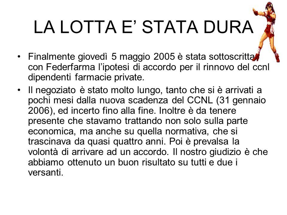 LA LOTTA E STATA DURA Finalmente giovedì 5 maggio 2005 è stata sottoscritta con Federfarma lipotesi di accordo per il rinnovo del ccnl dipendenti farmacie private.
